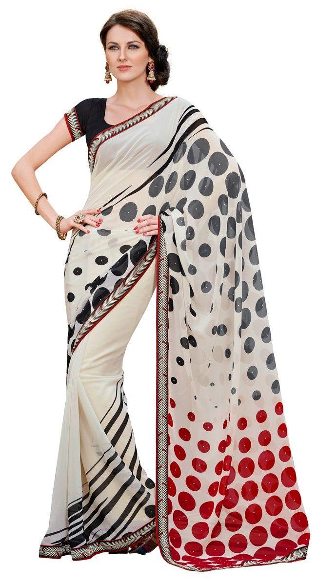 Imaginative White Color Georgette Printed #Saree