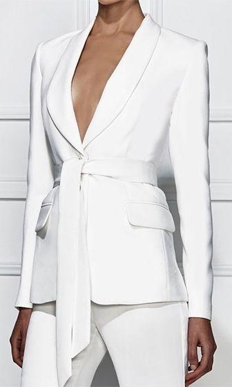 Point Taken White Long Sleeve Button V Neck Tie Belt Blazer Jacket