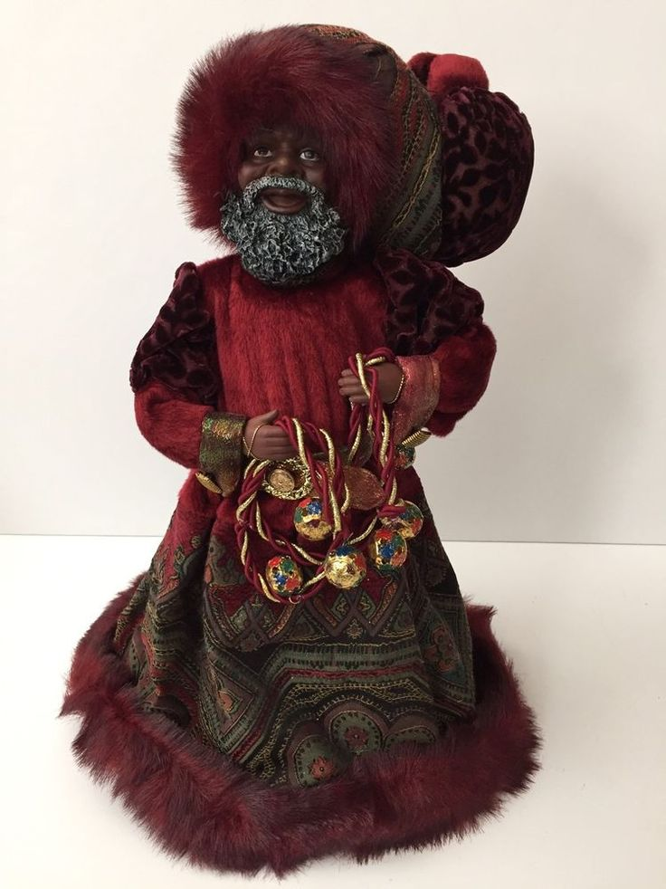 Bombay Co African American Black Santa Claus Xmas Tree Topper Maroon Tapestry