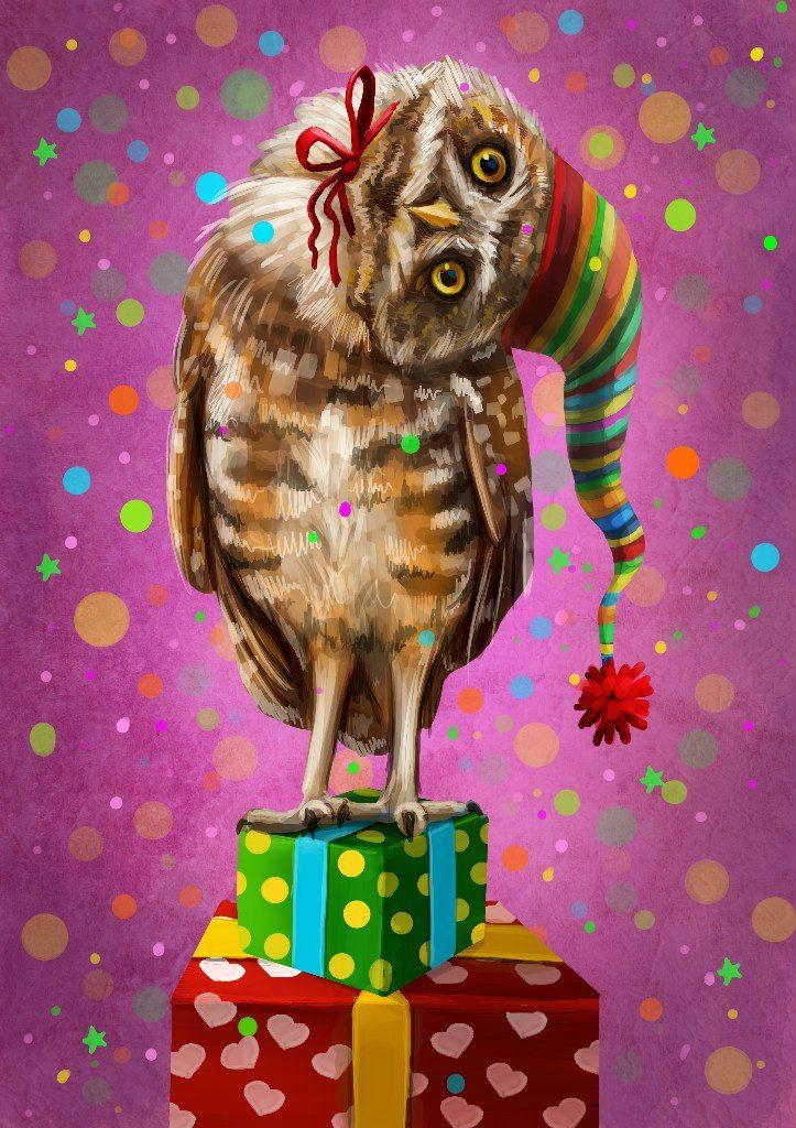 С днем рождения картинка совы