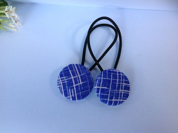 Handmade Fabric Button Hair Ties by ScarletBarDesigns on Etsy
