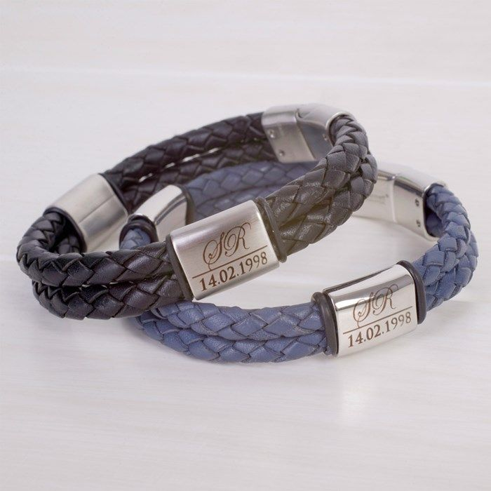 This stylish, personalised leather bracelet is perfect for a man who complains about not having enough jewellery! In blue or black. Fast UK delivery.