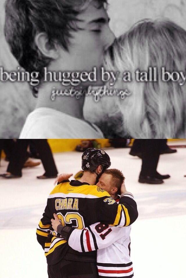 Being hugged by a tall boy. Hockey memes