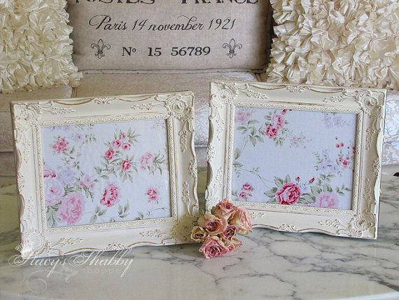 Pair Gorgeous Elegant ORNATE Cream PICTURE FRAMES, Annie Sloan, Shabby Chic, French