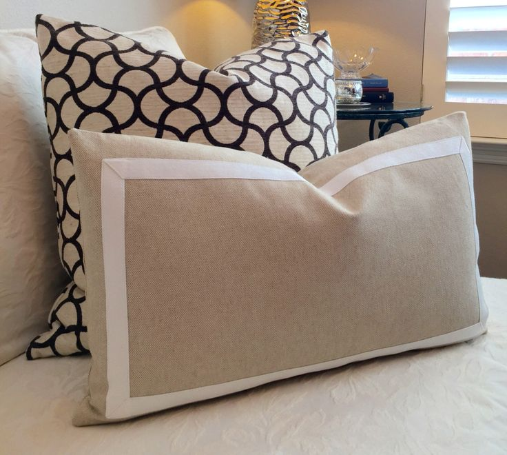 Simple Elegant Border Pillow Cover White Pillow Decorative Pillow Taupe Pillow Cover Neutral Pillow Cover Beige Pillow Lumbar Pillow Throw Pillow Modern - Luxury Big sofa Pillows Ideas