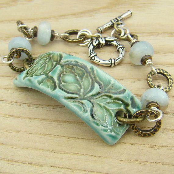 Aquamarine leaf ceramic bracelet brass silver by laurelmoonjewelry, $24.00: