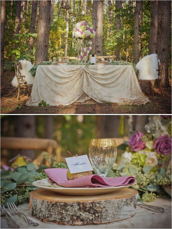 woodsy wedding ideas for fairytale themed wedding #weddingreception #fairytalewedding #weddingchicks http://www.weddingchicks.com/2014/01/27/princess-bride-wedding-inspiration/