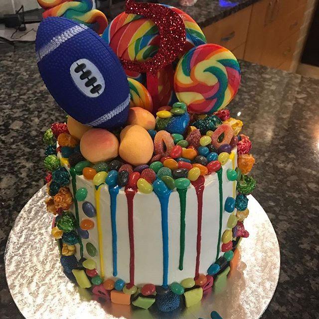 #cake #dripcake #4layers #sweets #jellybeans #beaconsweets #liquoriceallsorts #liquorice #smarties #popcorn #jellytots #candy #candycane #ganache #colourganache #colour #birthdaycake #cakes #dripcakes #rugbycake #rugby #instacake #cakesofinstagram