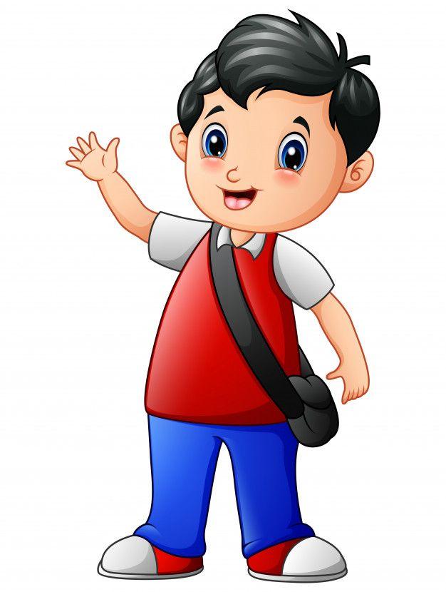 Una Linda Caricatura De Nino De Escuela Premium Vector Freepik Vector Escuela Personas Caricaturas De Ninos Dibujos Animados De Chicas Poses De Ninos