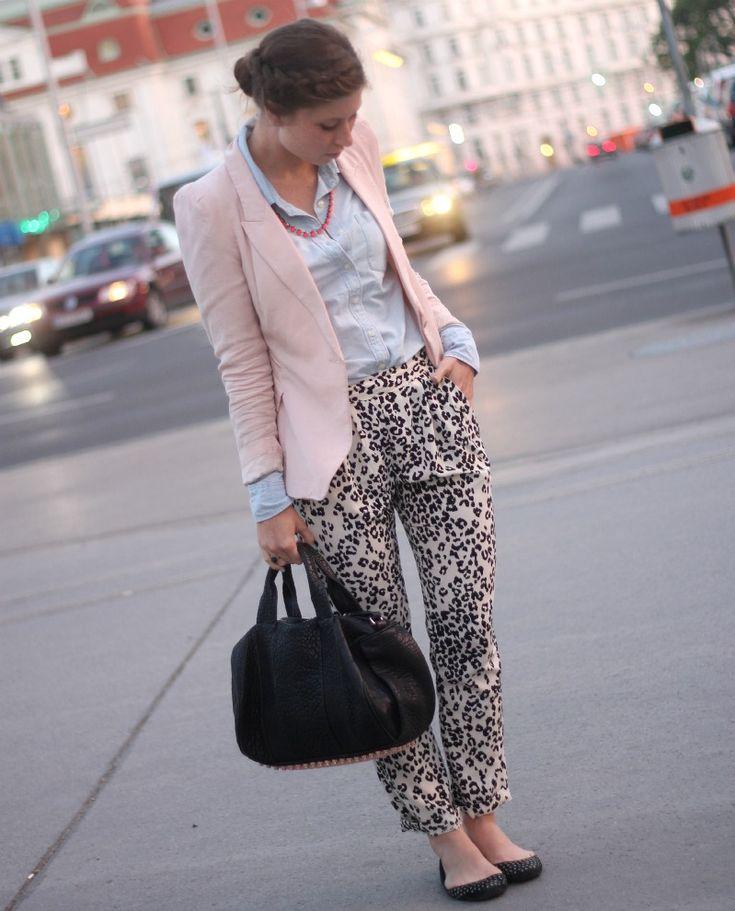 leopard pants, denim shirt, light pink blazer & a.wang rocco bag with rosé gold hardware
