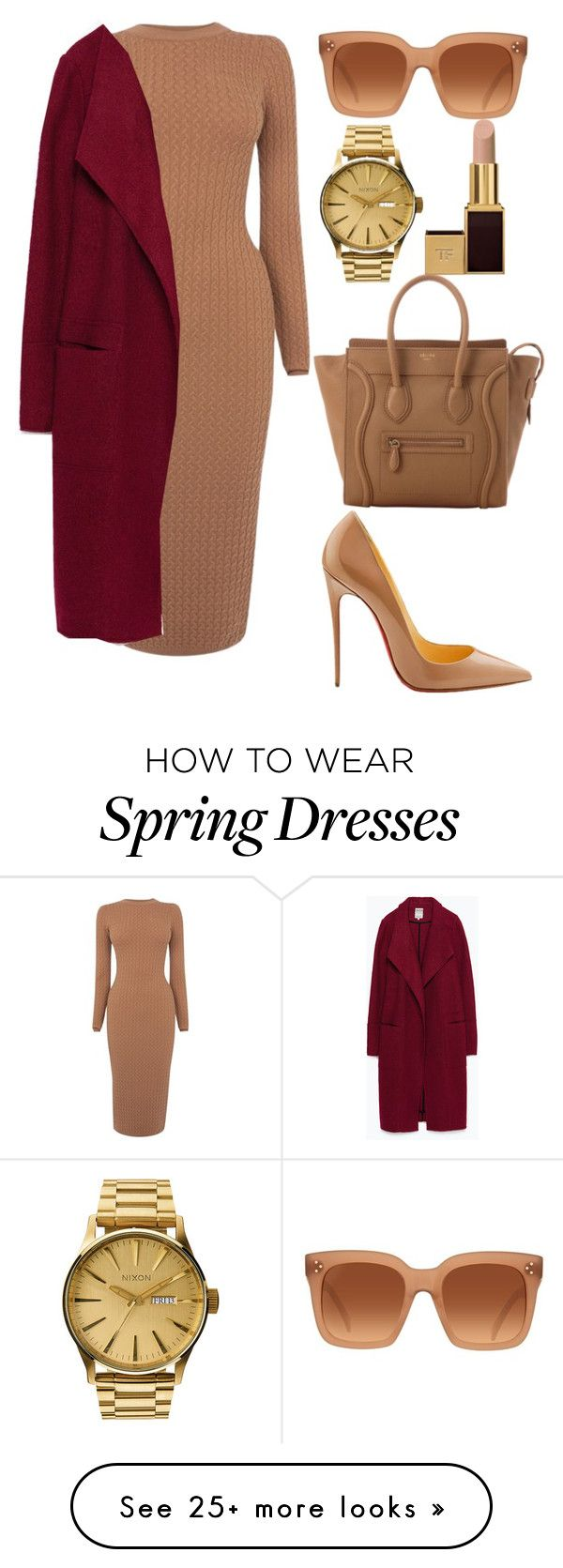 """Untitled #322"" by amoney-1 on Polyvore featuring moda, Karen Millen, Christian Louboutin, CÉLINE, Nixon, Tom Ford y Zara"