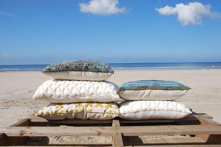 #pillow #kussen #wonen #Autumn #Winter #cushion #design #handmade #particolare #bijzonder #beach #strand #blue #white #dutch
