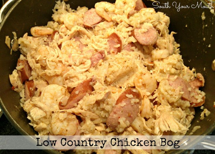 "Low Country Chicken Bog: if you've never lived in the Carolinas, you don't know what you're missing. Chicken bog is one of those meals that's like ""I don't know if I want chicken or seafood or sausage or rice so I'll just throw everything in the crock pot."" AND OMG SO GOOOOOOD."