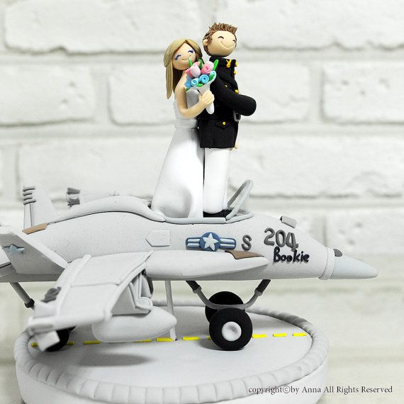 Fighter plane pilot wedding cake topper decoration gift for Air force decoration