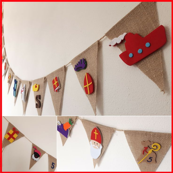Sinterklaas vlaggenlijn van jute met vilten sinterklaas figuren. #creagibbie #sinterklaas #slinger #vilt
