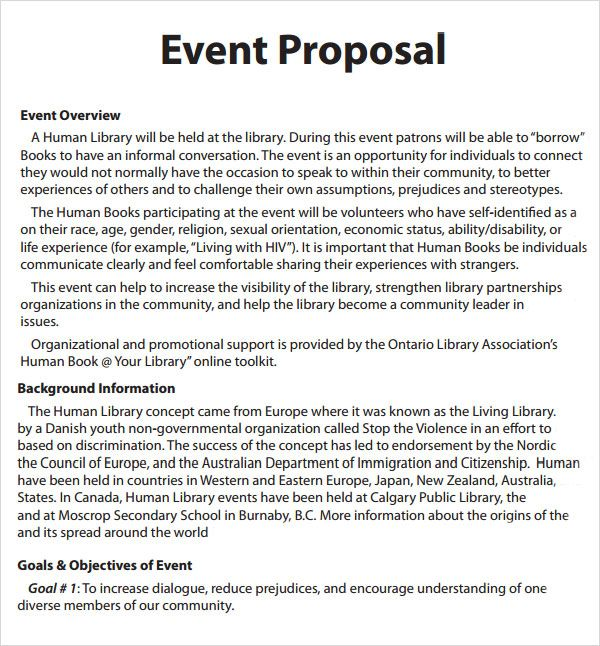 Free Project Proposal Template] Event Proposal Template 16 Download ...