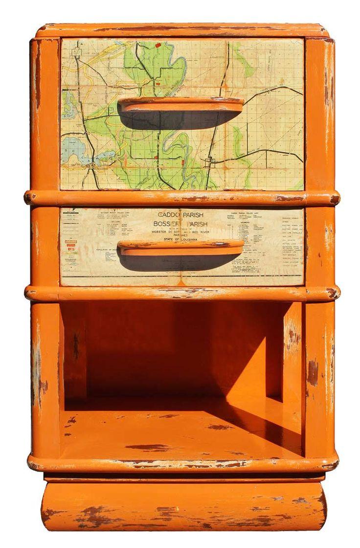 Cavalier bathroom furniture - Reserved Repurposed Upcycled Distressed Orange Nightstand Night Stand Vintage Shreveport Louisiana Map Bathroom Furniture