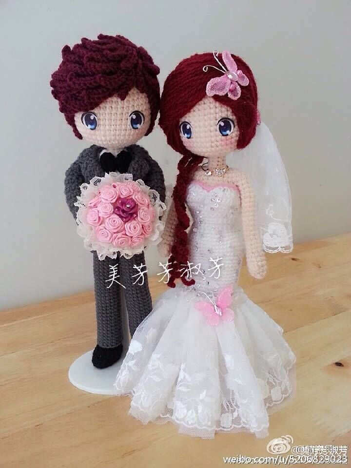 Crochet wedding couple. Too cute!