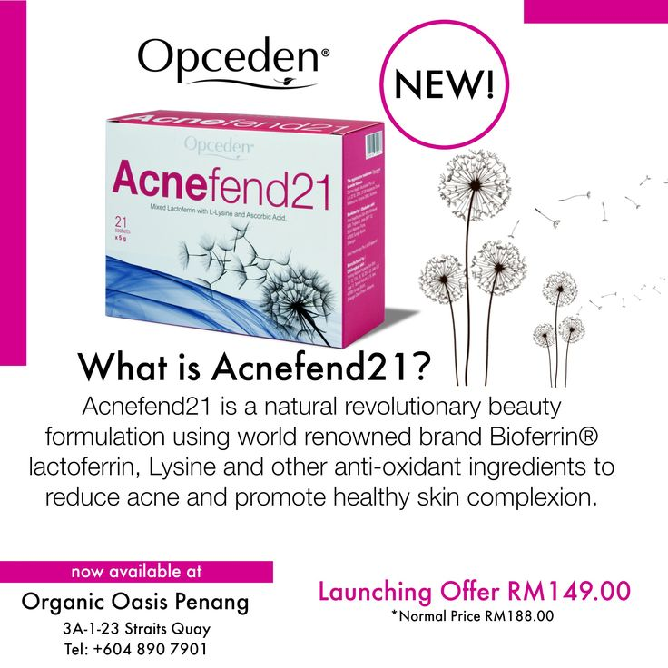 What is AcneFend21™ by #opceden? #organicoasispg #AcneFend21 AcneFend21 is a natural revolutionary beauty formulation using world renowned brand Bioferrin® lactoferrin, Lysine and others anti-oxidant ingredients to reduce acne and promote healthy skin complexion. Now available online http://www.rakuten.com.my/shop/organicoasis/product/ACNE21