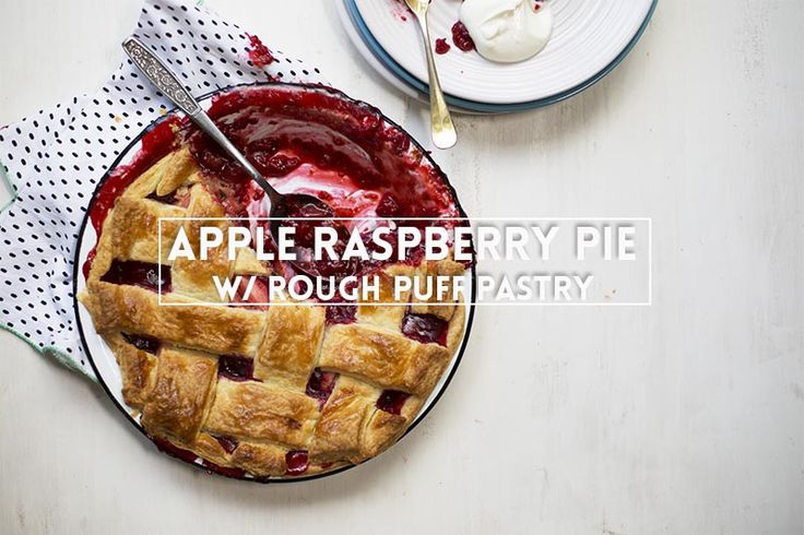 Bubbling, berry-stained filling, spilling over the edges of a pie dish, bursting through abuttery, flaky crust. Apple Raspberry Pie with Rough Puff Pastry!