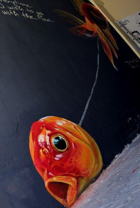 Lonac – Only Dead Fish Go With Flow? New Mural @ Osijek, Croatia