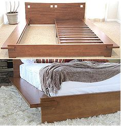 This Japanese platform bed is made of 100% solid Para hardwood (environmentally friendly wood). The frame and headboard are constructed with over an inch thickness of wood in satin finish. Interlocking systems is simple, sturdy and easy to put together that requires only six screws to secure the frame. The Zen bed includes 16 wooden slats, center support rail, and center leg that can support any standard queen size mattress.