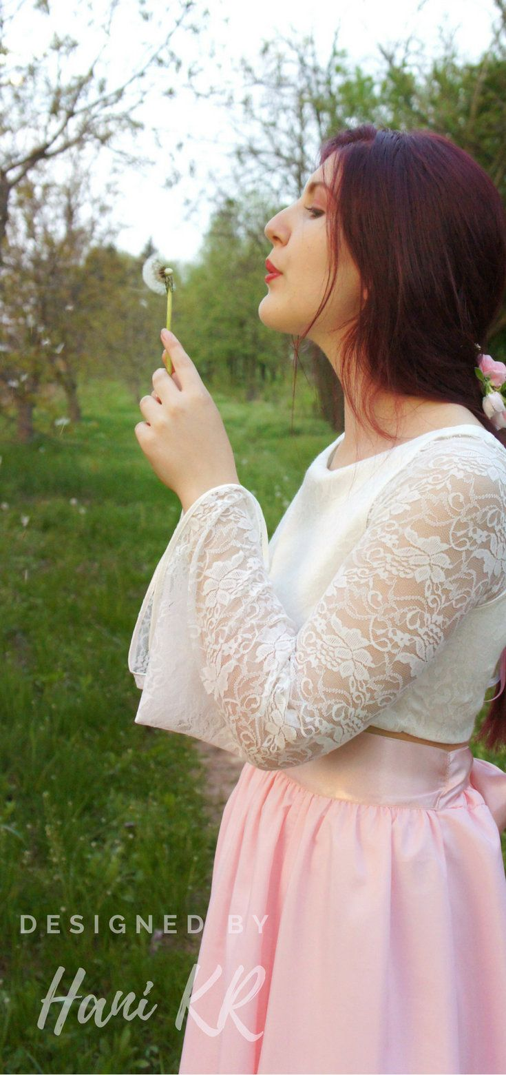 Flowy wedding dress with sleeves  Separate wedding dress Boho long sleeve wedding dress Blush