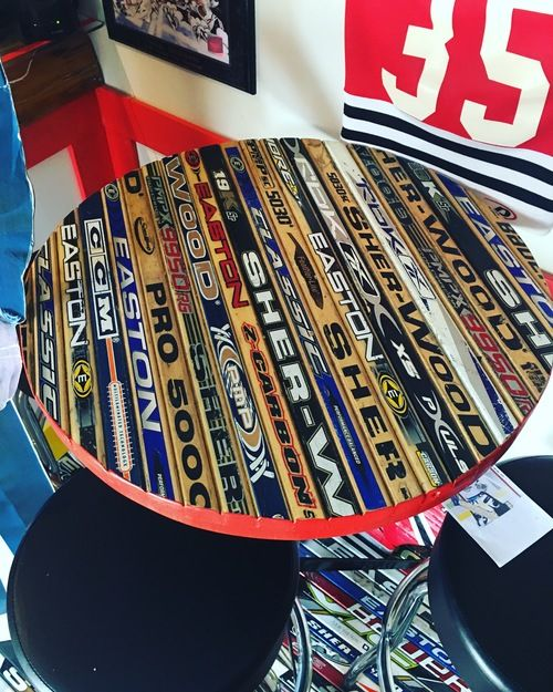 """Hockey Stick Table - Create Your Own! Hockey stick furniture for the Ultimate Hockey Fan Cave - a """"man cave"""" dedicated to ice hockey."""