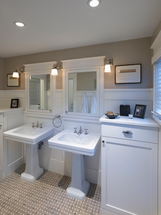 Perhaps for the Master Bath?  Color Scheme.  I would need more counter space so perhaps a vanity vs. Pedestal sinks.