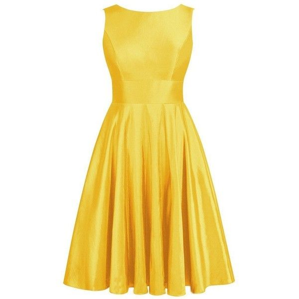 Olidress Women's Short Satin Bowknot Bridesmaid Dress Prom Dress (315 RON) ❤ liked on Polyvore featuring dresses, yellow dress, bridesmaid dresses, short prom dresses, short cocktail dresses and prom dresses