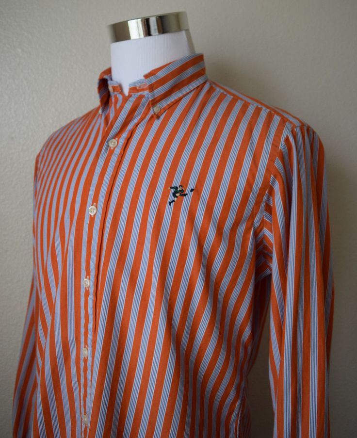 RALPH LAUREN RUGBY Men's Shirt L/Sleeve Striped Player Logo Orange Cotton Size M #RalphLauren #ButtonFront
