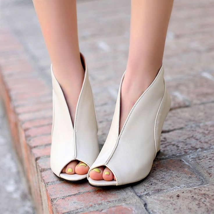 Women'S High Wedge Heels Peep Toe Pumps Faux Leather Sandal Shoes Plus Size