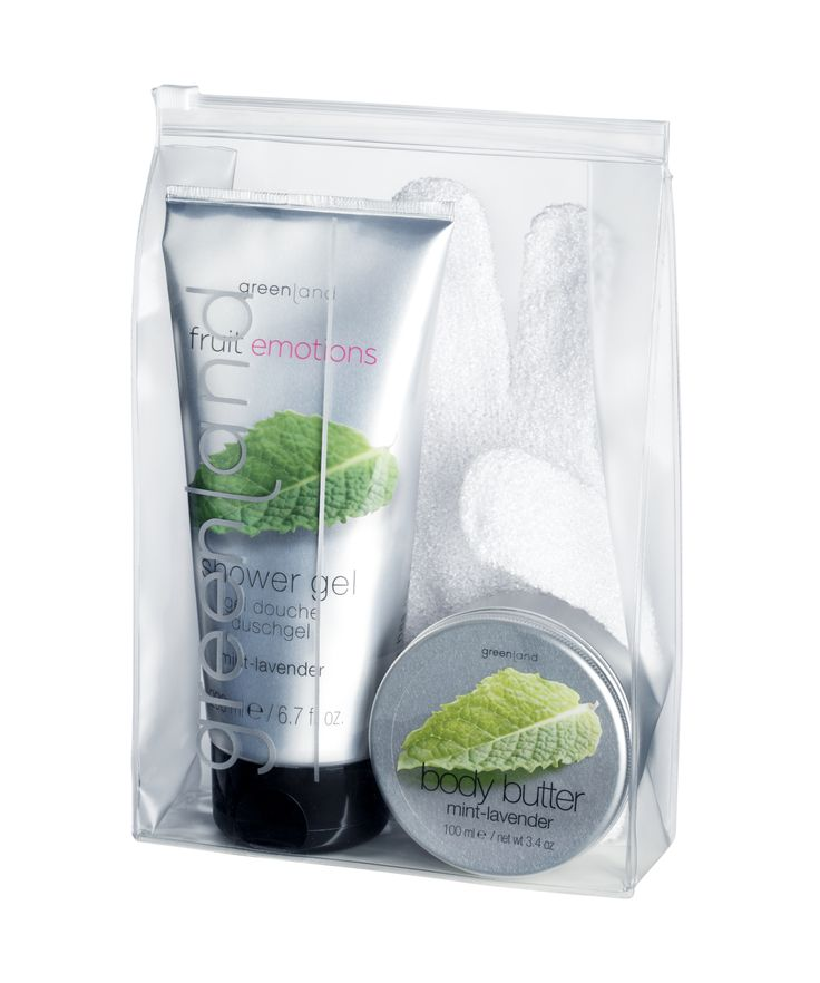 Mint-lavender giftset: 250ml shower gel, 100ml body butter & scrub glove!