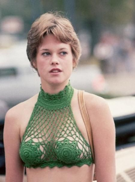 Melanie Griffith wearing a doily in 1970's