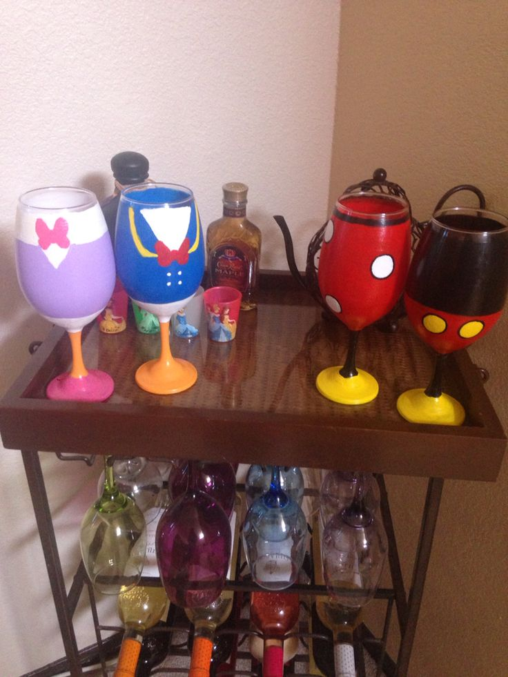 Hand painted Disney wine glasses
