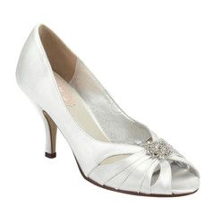 """#weddingshoes #trousseaubridalshoes #bridalshoes Moon is a sophisticated, yet elegant shoe with stunning brooch and gentle pleat detailing.   Heel height: 7.5cm / 3"""".  Check out www.trousseaubridalshoes.co.nz - worldwide shipping is available on our shoes, please contact usMaterial:  Satin"""
