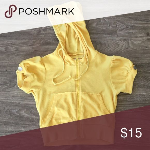 Yellow Zip Up Velour Hoodie Yellow Zip Up Velour Hoodie. Size Small. Cute on. Gently loved but many miles left. Tops Sweatshirts & Hoodies