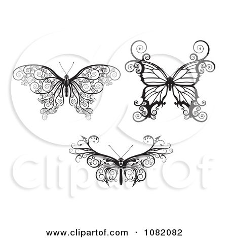 Clipart Three Butterflies In Ornate Black And White - Royalty Free Vector  Illustration by Geo Images