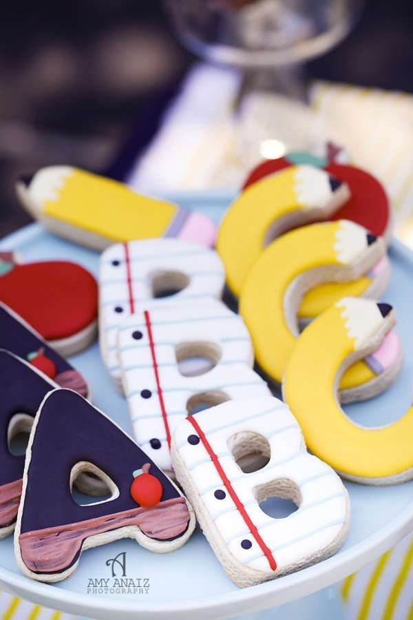 Cookies at a preppy chic playground back to school party! See more party ideas at CatchMyParty.com!