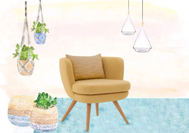 Sketch Bowler Chair with Globewest rug, Samba Baskets and Drake Pendant. Illustration by #HOMEDRAWN