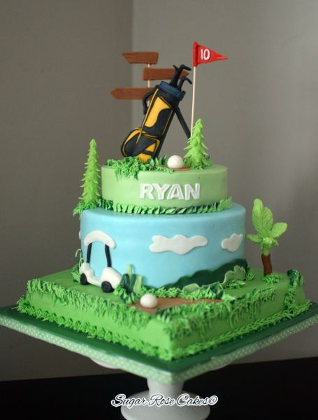 Golf themed cake & 8 best Golf cakes images on Pinterest | Golf cakes Golf themed ...