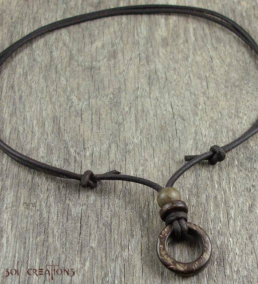 Mens Leather Necklace Coco Wood Ring by SolCreationsJewelry