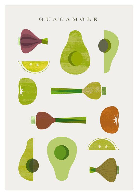 GUACAMOLE poster - Original ILLUSTRATED Digital Image Download - No. 16. $5.00, via Etsy.