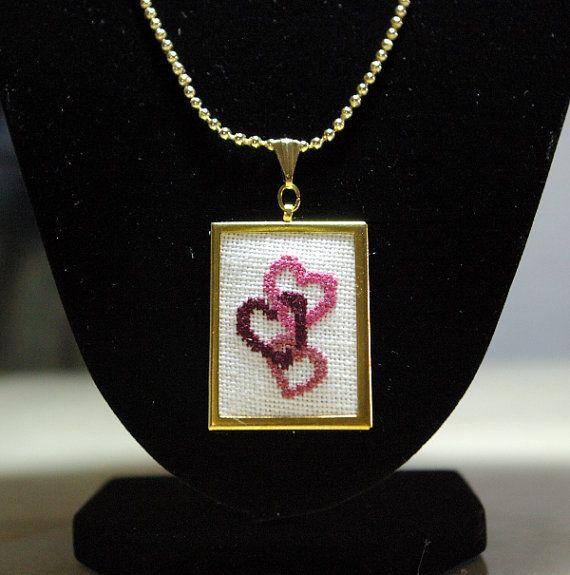 Three Pink Hearts Cross Stitch Pendant by BlueTopazStitchery, $25.00
