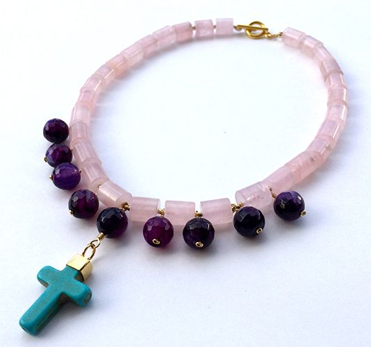 NECKLACE TUBULAR PINK QUARTZ  Material: Agata abode with faceted cut Cross turquoise embedded in bronze with gold coat. www.artbition.com