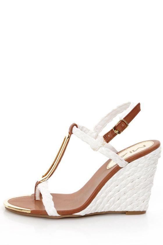 Mia Tiffany White Braided Metal Charm Wedge Sandals