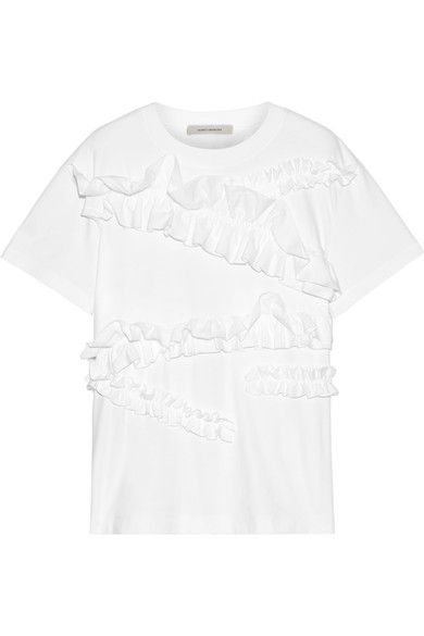 Cédric Charlier - Ruffle-trimmed Cotton-jersey T-shirt - White - IT48