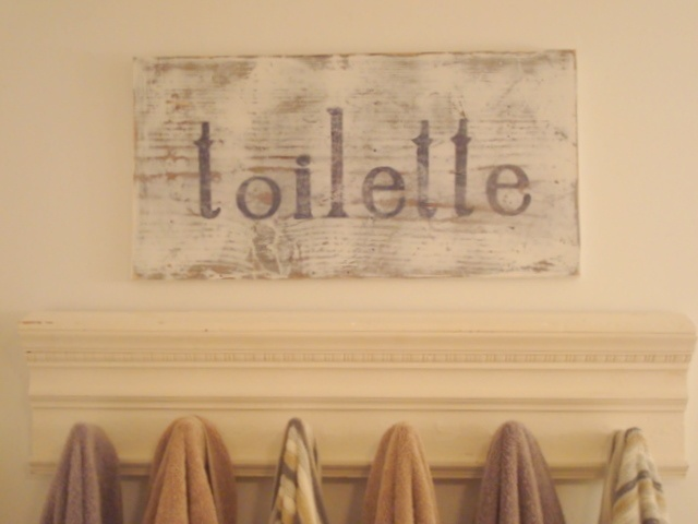Bathroom sign...could do w/canvas idea and paint w/letters...