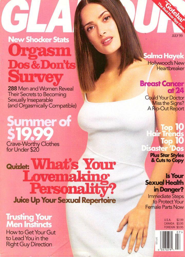 1999 Glamour Magazine Salma Hayek Hair Kosovo Cancer Vintage Fashion VTG Ads 90s