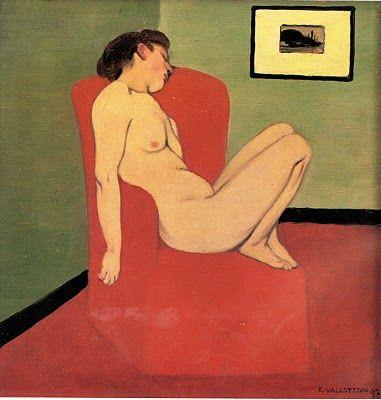 Félix Vallotton, femme nue assise dans un fauteuil rouge , musée de Grenoble, 1897